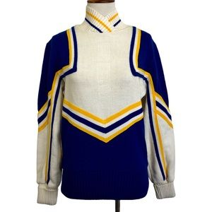 Vintage Cheer Sweater Team Mates Blue Gold 38